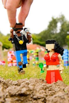 A miniature Lego version of Glastonbury – complete with 10 cm high Kanye West and Kim Kardashian models – has been built in the Legoland Windsor Resort.