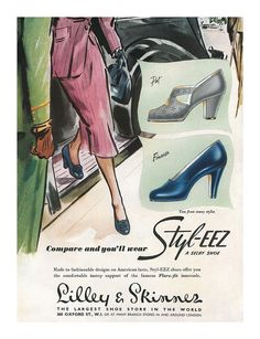 A beautifully illustrated 1951 Selby Styl-Eez Shoes ad.