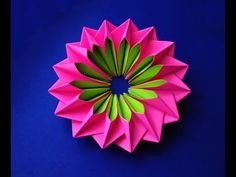 Easy and rich paper flower. Bright piece for room decoration. Origami flower for kids. Bright piece for room decoration. Great ideas for gifts, greeting card decorations, Christmas tree decorations, Ideas for Valentines Origami Rose, Easy Origami Flower, Origami Simple, Origami And Quilling, Origami And Kirigami, Quilled Paper Art, Useful Origami, Origami Stars, Origami Paper
