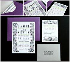purple with slight green invites Plum Wedding Invitations, Wedding Invitation Wording, Purple And Silver Wedding, Black Silver, Wedding Stuff, Our Wedding, Wedding Ideas, Planning Board, Modern Typography