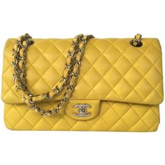 Pre-owned Chanel Medium Classic Double Flap Shoulder Bag ($2,350) ❤ liked on Polyvore featuring bags, handbags, shoulder bags, yellow, quilted shoulder bag, preowned handbags, shoulder handbags, brown purse e chanel handbags
