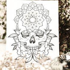 Tattoo design by @laneytattoo Loved drawing this skull ✨ . . . #ttblackink #blackflashwork #sketch_daily #flashworkers #iblackwork #blackworknow #geometrychaos