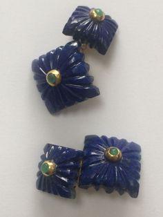Fesonato Lapis Lazulite and Emerald cuff links - Catawiki