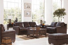Cranston Walnut Living Room Sofa, Loveseat, Chair - Bernie And Phyls Leather Living Room Set, Ashley Furniture, Casual Living Rooms, Furniture, Home Furniture, Couch Set, New Living Room, Sofa Set, Walnut Living Room