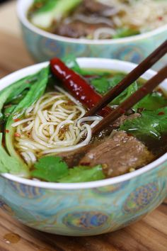 Beef Asian Noodle Soup is love at first bite. Tender beef and crispy baby bok choy is served over a rich Asian spiced broth with gratifying lacy noodles.