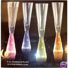 4 Gorgeous Faceted Frosted Crystal Rainbow of Colors Champagne Flutes Glasses Listing in the Elegant Glass,Glassware,Glass,Porcelain, Pottery & Glass Category on eBid United States | 144616537