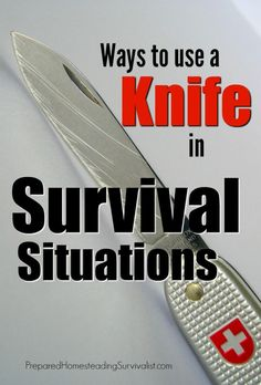 There are many ways to use a knife in survival situations, and not just for self-defense! Have you ever wished for a blade to help with a project? Survival Bow, Survival Knife, Survival Prepping, Emergency Preparedness, Survival Skills, Survival Stuff, Wilderness Survival, Survival Project, Emergency Binder