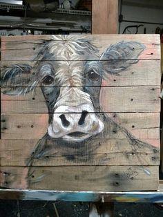 Pallet painting of a cow...moo!! Reclaimed wood art!! Artist Liz Saludez
