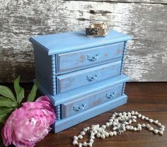 Blue Jewelry Box Shabby Chic Vintage Armoire Cabinet by patinamor