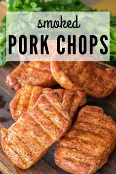 These smoked pork chops are the perfect weeknight meal that doesn't require a lot of prep time or fuss. They're smoky, juicy, and incredibly tender. All you need is smoke and some good sweet rub to experience the best smoked chops of your life! Traeger Pork Chops, Smoked Pork Chops, Apple Pork Chops, Traeger Smoker, Smoked Pork Loins, Pork Loin Chops, Traeger Recipes, Smoked Meat Recipes, Pork Recipes
