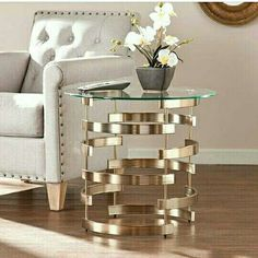 Slip the circular Belmar Drum Table from Southern Enterprises into your living room for a captivating contemporary look. Evoking Art Deco appeal, the cylindrical interlocking base supports a tempered glass top. A champagne finish adds glamour. Living Room Furniture, Living Room Decor, Sofa End Tables, Coffee Tables, Console Tables, Traditional Furniture, Small Living, Modern Living, Living Spaces