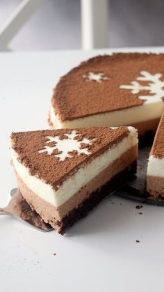 Recipe with video instructions: Complete your holidays with a triple chocolate mousse cake topped with a stunning snowflake design. Ingredients: Dark Chocolate Cake:, 2/3 cup all-purpose flour, 1/3 cup cocoa powder, 2/3 cup sugar, ¾ tsp baking soda, ¾ tsp baking powder, ¼ tsp salt, 1 large egg, ¼ cup milk, 3 tbsp oil, ½ tsp vanilla extract, ¼ cup water, Milk Chocolate Mousse:, 225ml whipping cream, 135g good quality milk chocolate, 3 large egg whites, 75ml milk, 6g powdered gel...