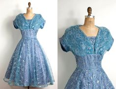 So pretty! :)  Vintage 1950s dress / 50s blue metallic lace party by SwaneeGRACE, $288.00