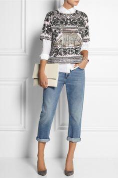 J.Crew | Jemima embellished merino wool top
