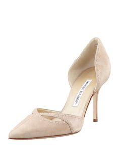 Artoisdo+Suede+Pointy+d\'Orsay+Pump,+Beige+by+MANOLO+BLAHNIK+at+Bergdorf+Goodman.