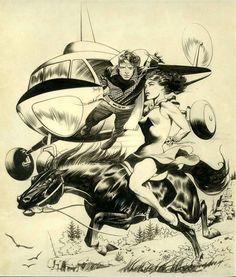 Frank Frazetta- Original cover art for Buster Crabbe #4 (Eastern Color, May 1952). Frank Frazetta (born Frank Frazzetta; February 9, 1928 – May 10, 2010)[2][3] was an American fantasy and science fiction artist, noted for comic books, paperback book covers, paintings, posters, LP record album covers and other media.[2] He was the subject of a 2003 documentary. Frazetta was inducted into the comic book industry's Will Eisner Comic Book Hall of Fame in 1995.