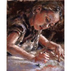 """the little artist"", little girl painting, an original pastel painting by Alisa Wilcher"