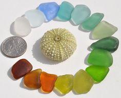 15 Pieces Rainbow Sea Glass Mix Including by BeachBountySeaGlass