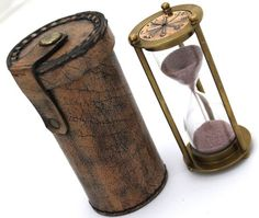 Brass Sand Timer Hourglass Sand Timer Leather Box | eBay