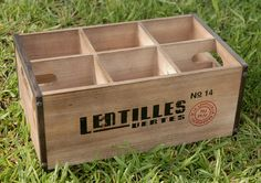 """holds 6 bottles  wood with reinforced sides & cut out handles  14.25"""" x 8.75"""" x 6"""""""