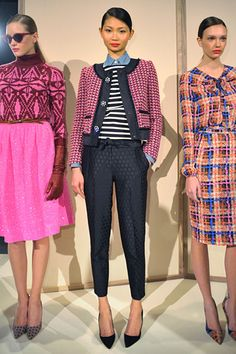 Love the little jacket.  Not necessarily what it's paired with, but the jacket is darling.  Very Chanel.  J Crew Fall 2012