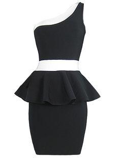 Sexy One Shoulder Black Party Peplum Bandage Dress . Shop Now At http://misscircle.com/Dresses/Bandage-Dress/One-Shoulder/Sexy-One-Shoulder-Black-Party-Peplum-Bandage-Dress.html