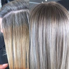 Highlights for gray hair help women transition. We list all the options for blending silver hair with lowlights, highlights, glossing, babylights, or full coverage. Find a low maintenance way to blend gray hair! Grey Blonde Hair, Long Gray Hair, Lilac Hair, Pastel Hair, Grey Hair Dye, Green Hair, Silver Grey Hair, Blue Hair, Dyed Hair