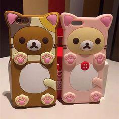 2016 3D cartoon bear Rilakkuma silicone phone case for iphone 5 5s se/6 6s/6…