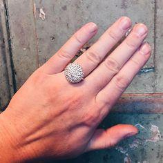 This silver chocolate button ring left the workshop yesterday. 🍫🍬 #chocolatebutton #chokoladeknap #yumyum #gold #guld #silver #sølv #diamond #diamant #smykker #jewelry #jewellery #guldsmed #jeweller #goldsmith #handcrafted #handmade #danishdesign #guldsmedlouisedegn