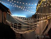 white lights, patio lighting, outdoor patios, string lights, lighting ideas, outdoor parties, backyard, globe, party lights