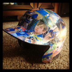 Tball/lLittle League Baseball helmet covered with picture from the season! Great instead of Trophy! Baseball Crafts, Baseball Party, Baseball Season, Baseball Mom, Baseball Stuff, Baseball Shirts, Softball Gifts, Girls Softball, Softball Stuff
