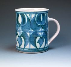 Aldermaston Pottery Mug by Edgar Campden. Alan Caiger Smith Aldermaston Pottery, England. 1960's. Hand Thrown and decorated.