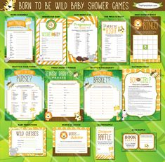 Safari Baby Shower Games | Born to be Wild Jungle Theme | Unique Gender Neutral Printables | ONE GAME You Choose | Invitation Available