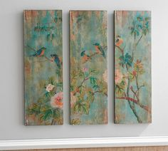 Bird & Branch Triptych Panels - Set of 3