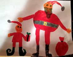 Santa and an elf drawn in markers by Olivia, 5 years old • Art My Kid Made Artist of the day on Dec. 13, 2012. #kidart #Christmas #holidayart