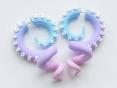 Pastel goth tentacle earrings, menhera harajuku fake plugs, fairy kei faux gauges, yami kawaii octop