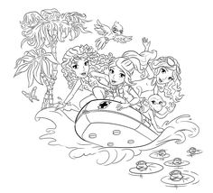 Lego rubber boat coloring page for girls, printable free. Lego Friends