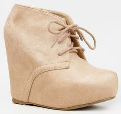 Soda PAGER Classic Basic Lace Up Hidden Platform Wedge High Heel Ankle Boot