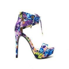 e185ad579c0 Charlotte Russe Strappy Floral Print High Heels | Womens Fashion ...