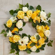 H213736 Lovely Bright Colors. Lemon and Lime wreath by Valerie