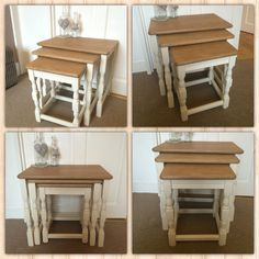 Nest of Tables sanded, varnished and legs painted a light cream chalk paint, customer commission