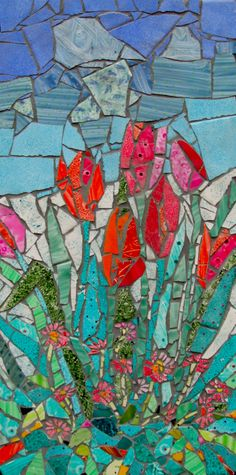 Tulips and daisy's  Mosaic made with my hand panted tiles for arts trail in May (sold)