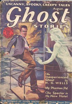 Vintage Ghost Stories -- Hey, fella, just exactly what is scarier to you?  A cute ghost or falling overboard into what looks like an unfriendly sea?