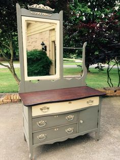 Antique dresser painted in Maison Blanche chalkpaint, confederate gray & vanille w/ dark wax by Karla of Hart & Soul Designs, Huntsville, AL.