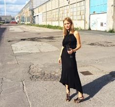 Beautiful fashion blogger, Pernille Teisbaek, wearing black dress from Rabens Saloner