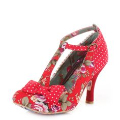 Womens Irregular Choice Bloxy Red Floral Textile T Bar Shoes Heels Size #IrregularChoice