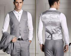 Štýlová pánska vesta ku obleku v svetlo sivej farbe