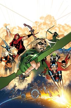DC's Futures End by Ryan Sook #GreenArrow #BigBarda #TeenTitans