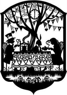 This is a 7.25 x 10 paper cutting in celebration of the 150th anniversary of the publication of Alices Adventures in Wonderland. The design is by