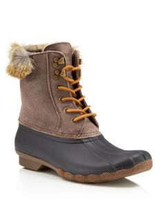 Sperry White Water Faux-Fur Lace Up Duck Boots
